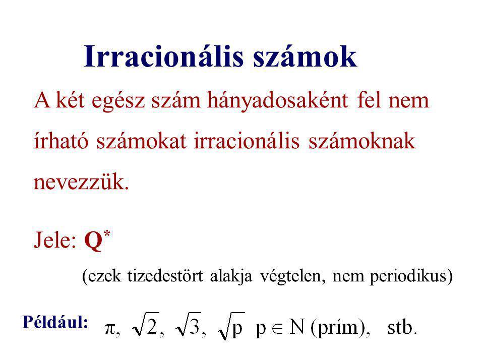 Irracionális számok A két egész szám hányadosaként fel nem írható számokat irracionális számoknak nevezzük.