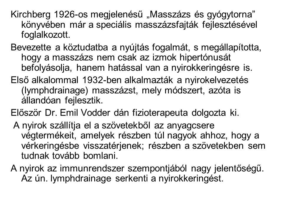 """Kirchberg 1926-os megjelenésű """"Masszázs és gyógytorna könyvében már a speciális masszázsfajták fejlesztésével foglalkozott."""