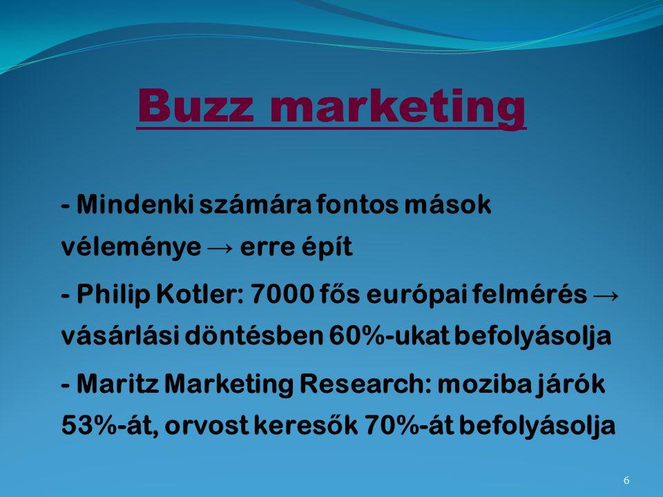 Buzz marketing - Mindenki számára fontos mások véleménye → erre épít