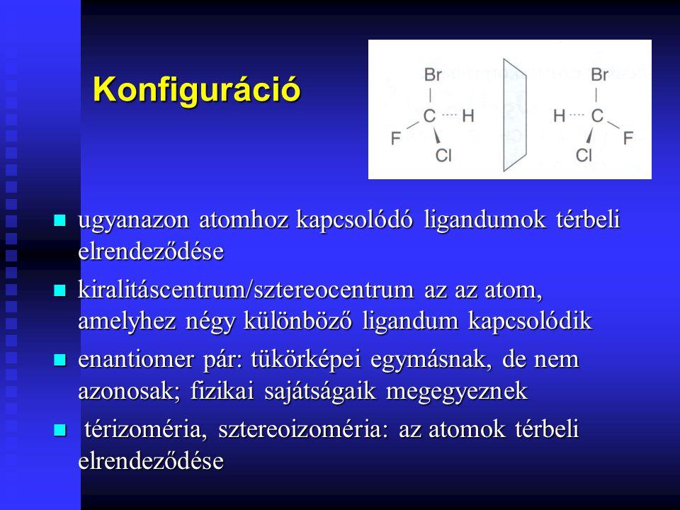 Konfiguráció ugyanazon atomhoz kapcsolódó ligandumok térbeli elrendeződése.