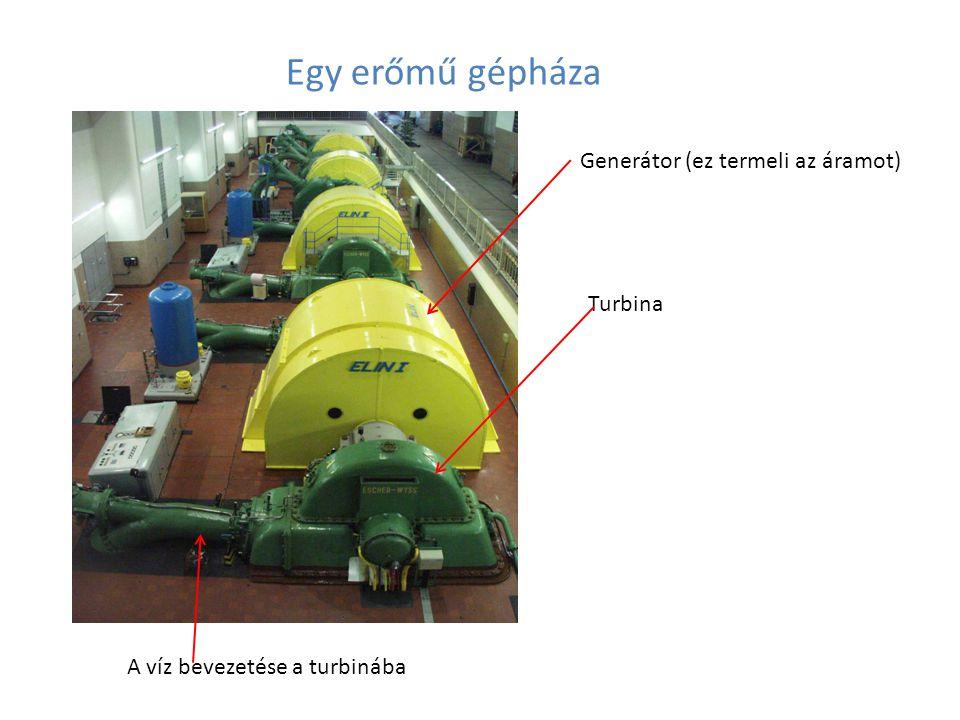 Egy erőmű gépháza Generátor (ez termeli az áramot) Turbina