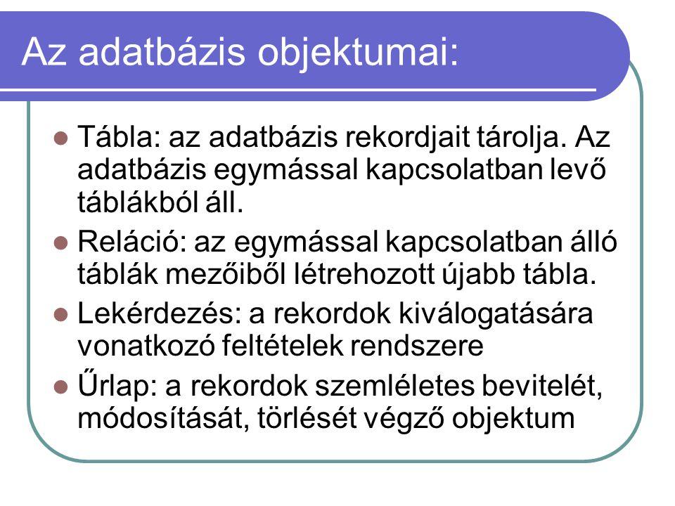 Az adatbázis objektumai: