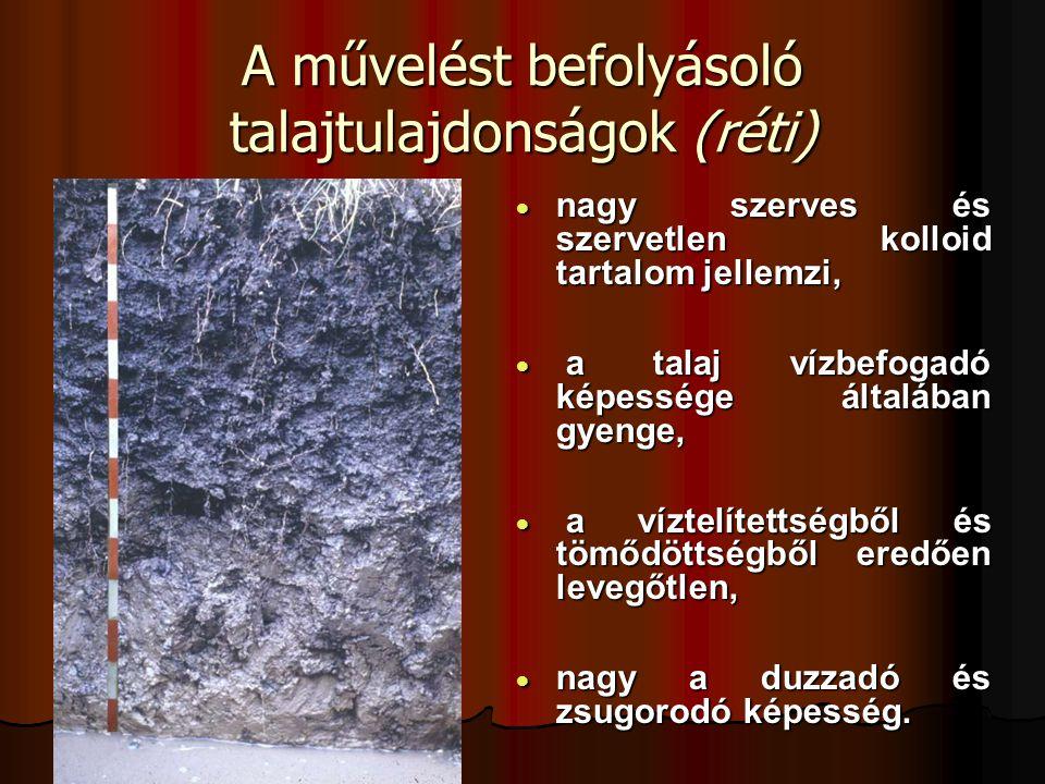 A művelést befolyásoló talajtulajdonságok (réti)