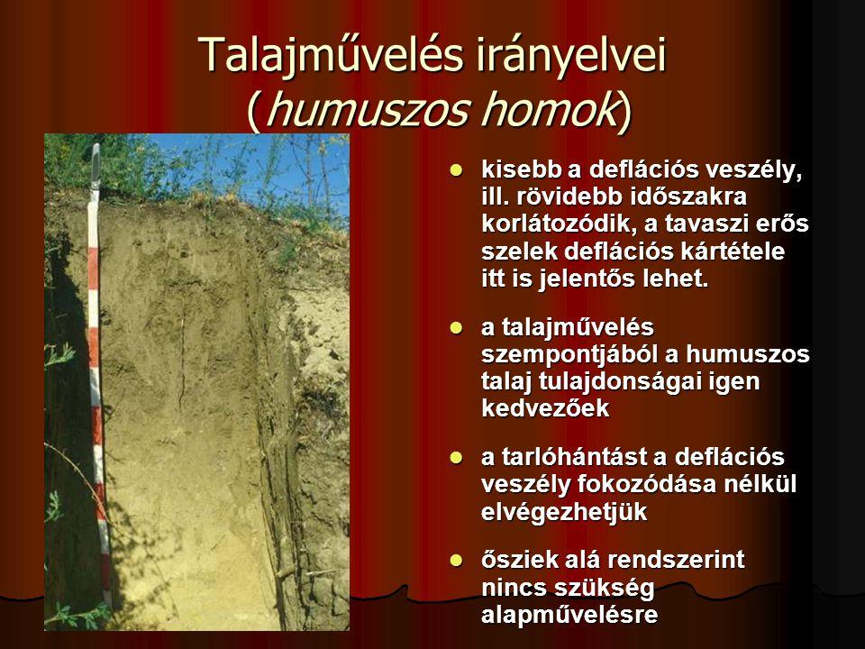 Talajművelés irányelvei (humuszos homok)