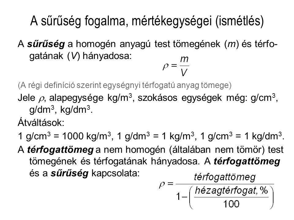 A sűrűség fogalma, mértékegységei (ismétlés)