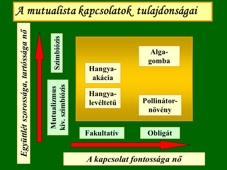 A mutualista kapcsolatok tulajdonságai