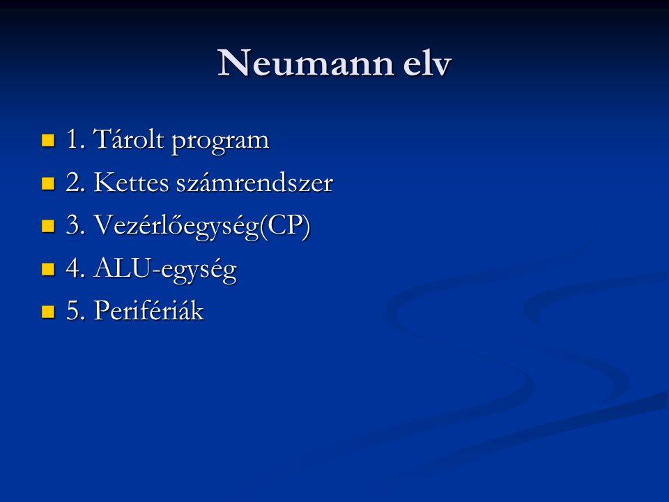 Neumann elv 1. Tárolt program 2. Kettes számrendszer