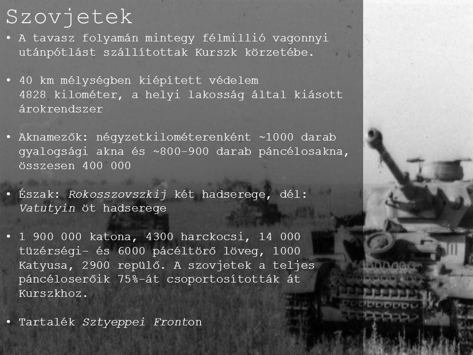 Szovjetek A tavasz folyamán mintegy félmillió vagonnyi utánpótlást szállítottak Kurszk körzetébe. 40 km mélységben kiépített védelem.