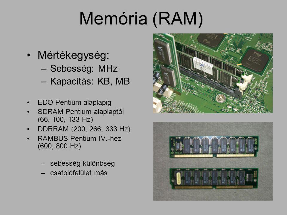 Memória (RAM) Mértékegység: Sebesség: MHz Kapacitás: KB, MB