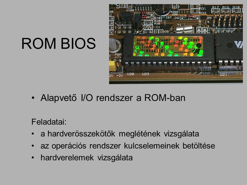 ROM BIOS Alapvető I/O rendszer a ROM-ban Feladatai: