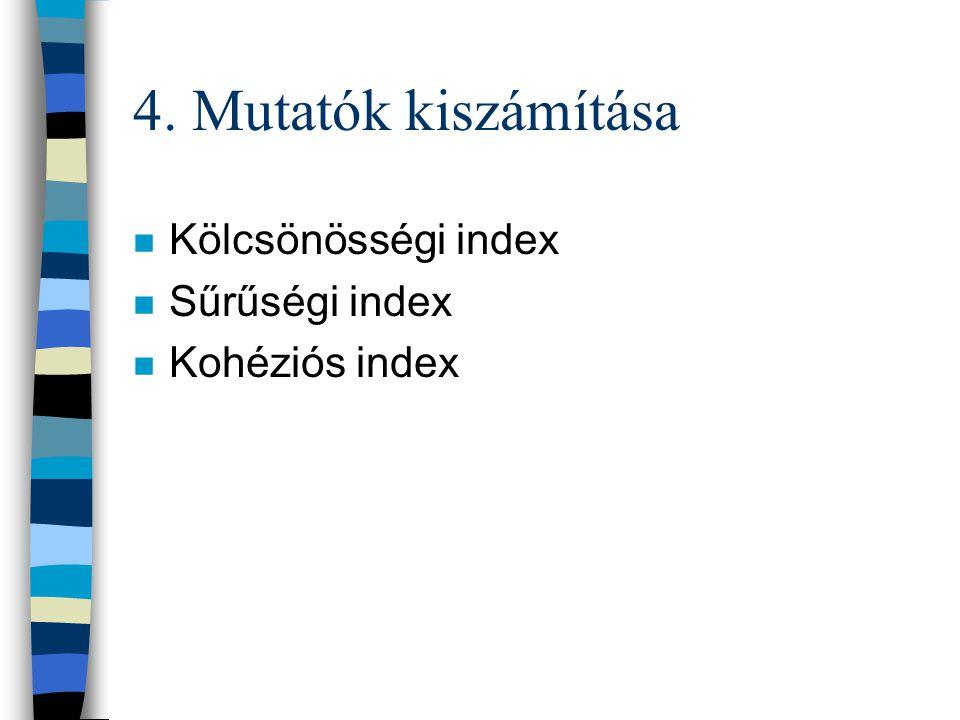 4. Mutatók kiszámítása Kölcsönösségi index Sűrűségi index
