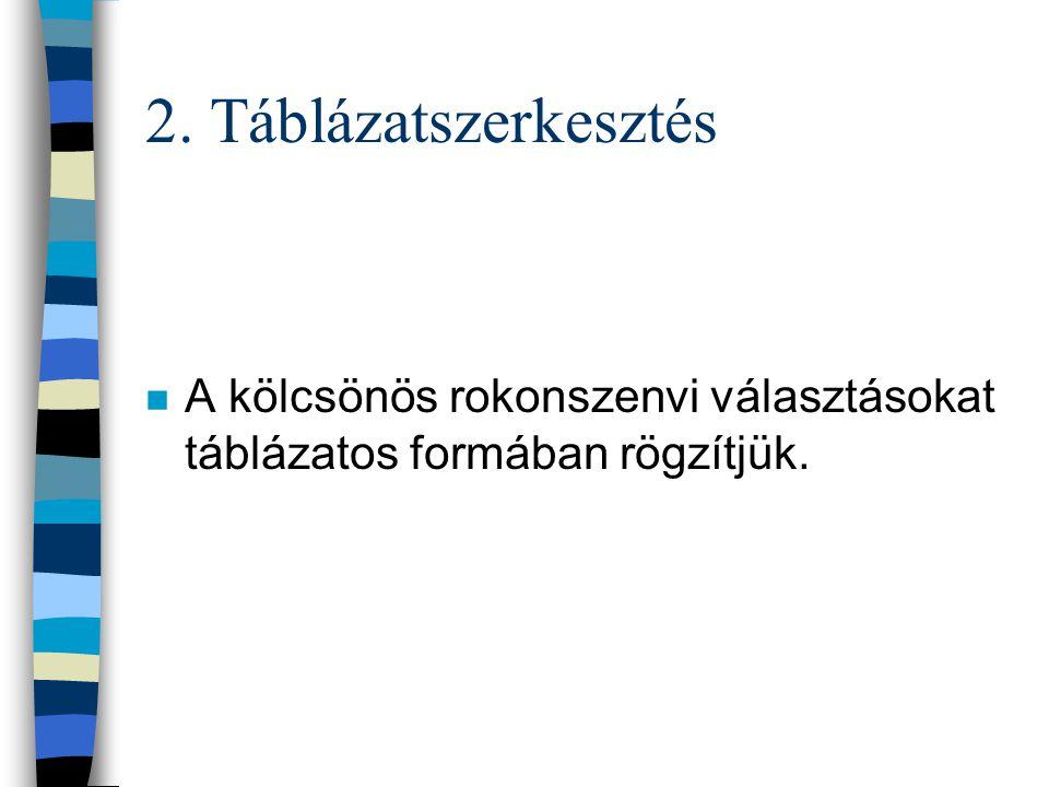 2. Táblázatszerkesztés A kölcsönös rokonszenvi választásokat táblázatos formában rögzítjük.