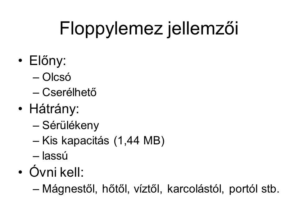 Floppylemez jellemzői