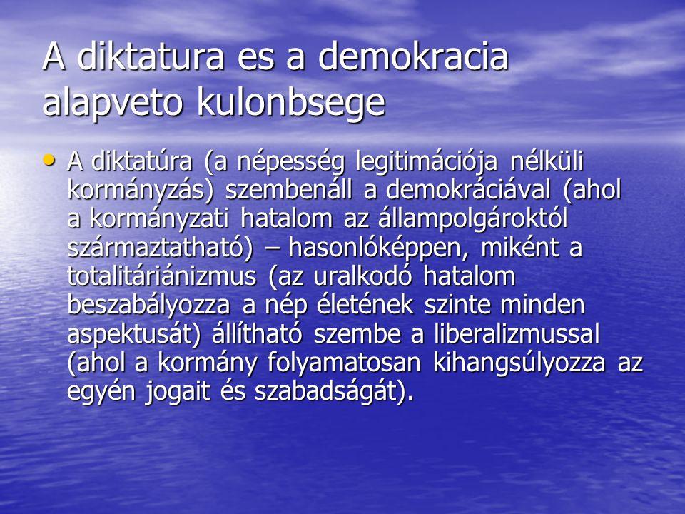 A diktatura es a demokracia alapveto kulonbsege