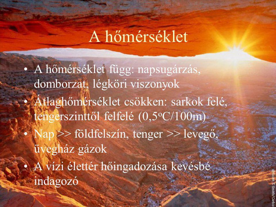 A hőmérséklet A hőmérséklet függ: napsugárzás, domborzat, légköri viszonyok.