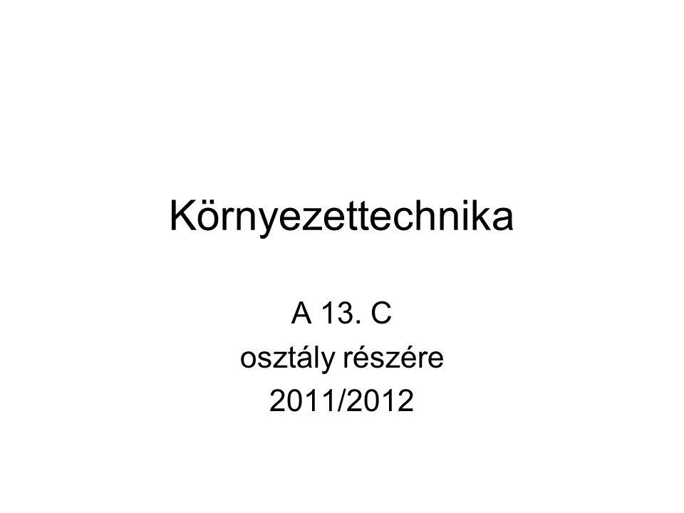 Környezettechnika A 13. C osztály részére 2011/2012
