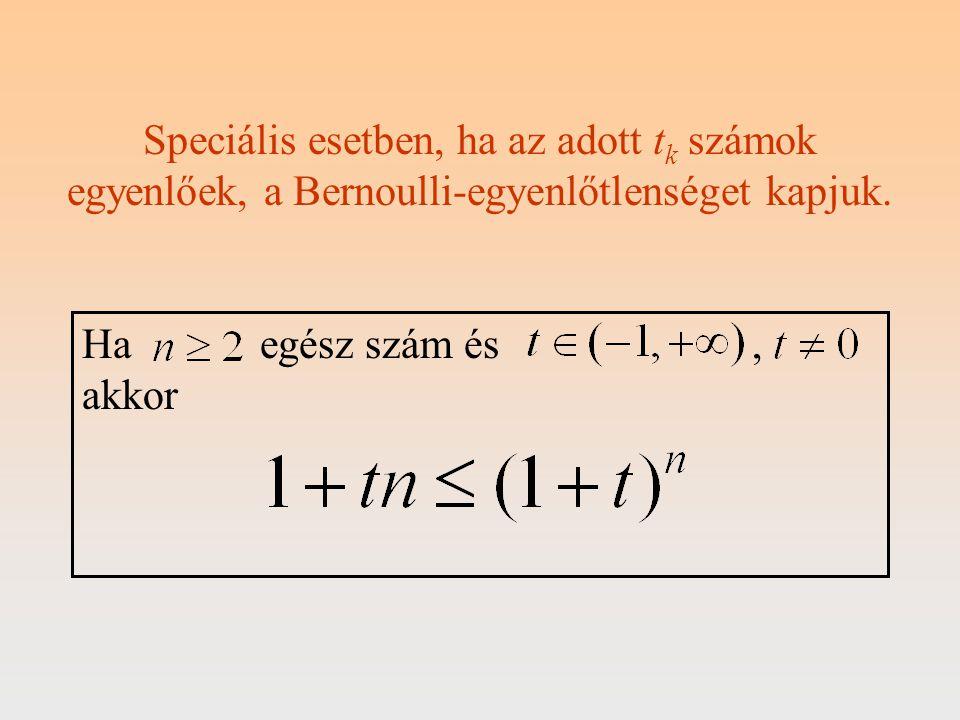 Speciális esetben, ha az adott tk számok egyenlőek, a Bernoulli-egyenlőtlenséget kapjuk.
