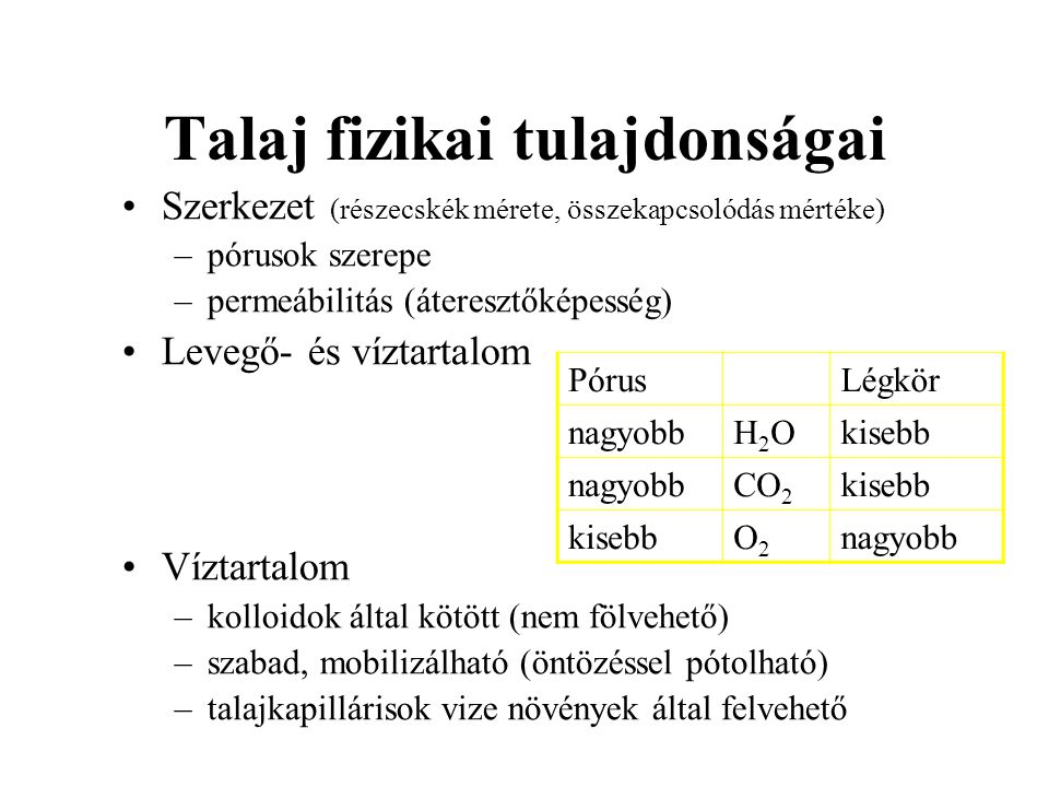Talaj fizikai tulajdonságai