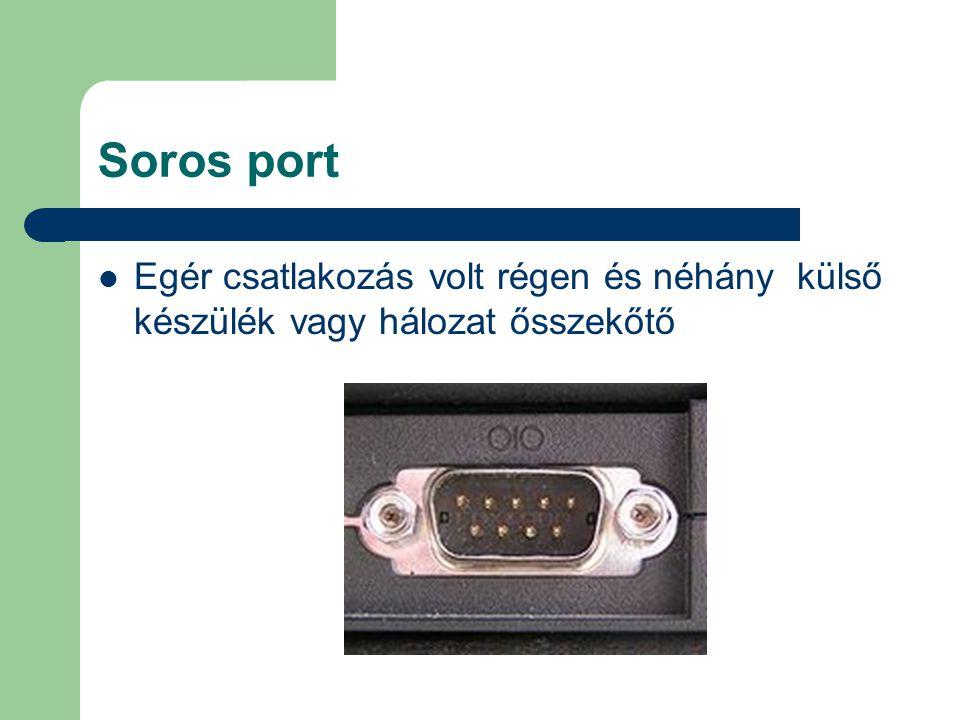 Soros port Egér csatlakozás volt régen és néhány külső készülék vagy hálozat ősszekőtő