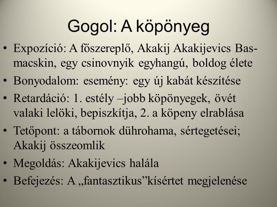 Gogol: A köpönyeg Expozíció: A főszereplő, Akakij Akakijevics Bas- macskin, egy csinovnyik egyhangú, boldog élete.