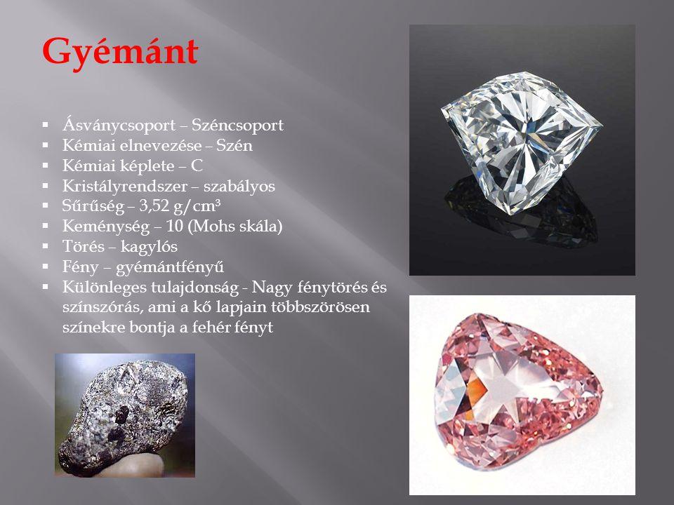 Gyémánt Ásványcsoport – Széncsoport Kémiai elnevezése – Szén