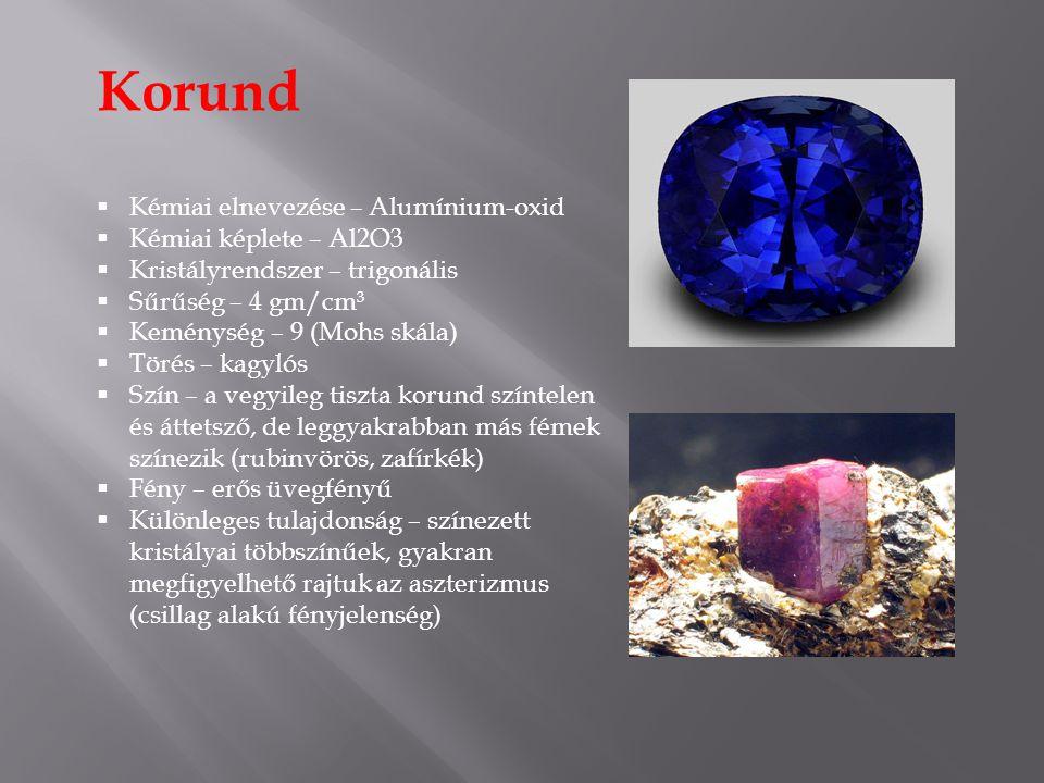 Korund Kémiai elnevezése – Alumínium-oxid Kémiai képlete – Al2O3
