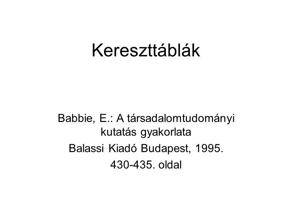 Kereszttáblák Babbie, E.: A társadalomtudományi kutatás gyakorlata