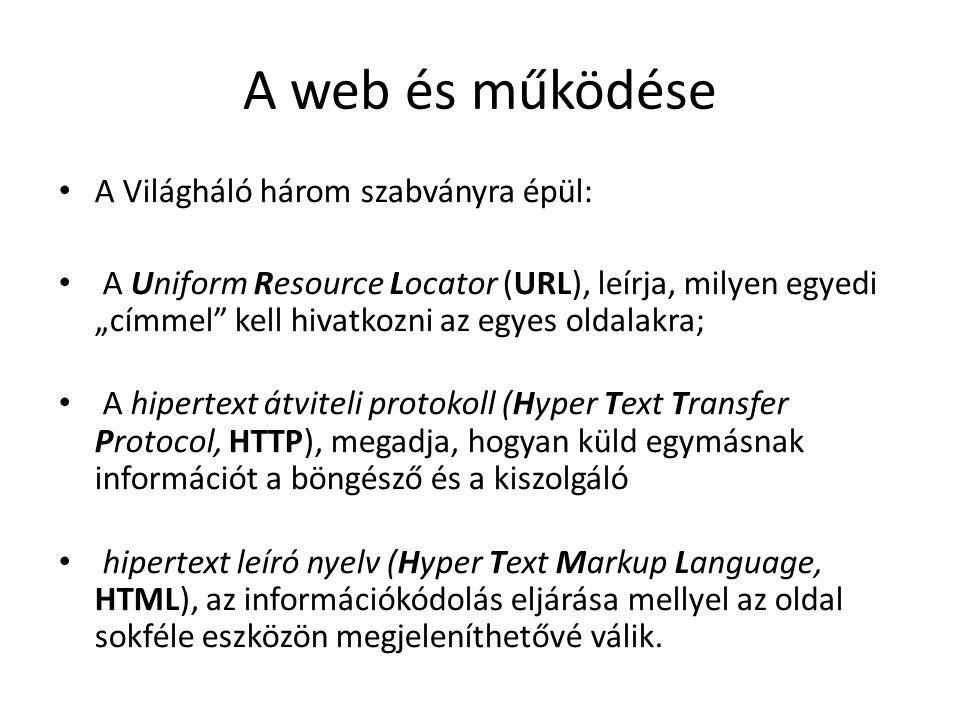 A web és működése A Világháló három szabványra épül: