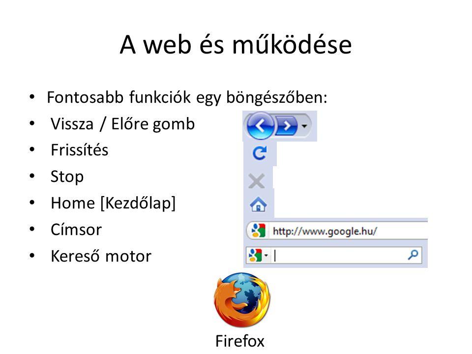 A web és működése Fontosabb funkciók egy böngészőben: