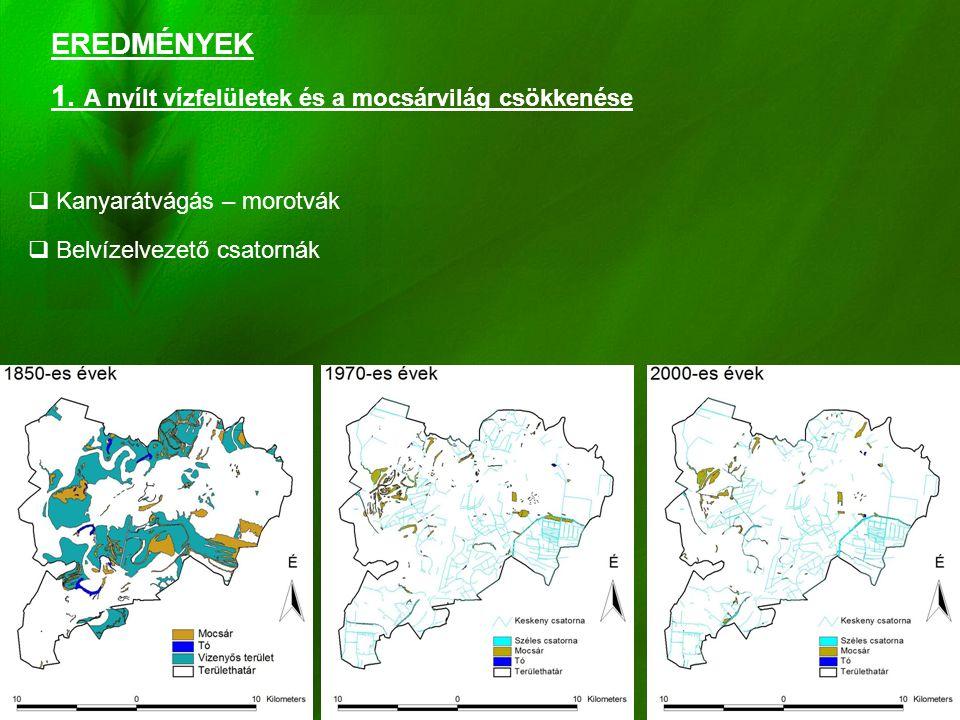 1. A nyílt vízfelületek és a mocsárvilág csökkenése