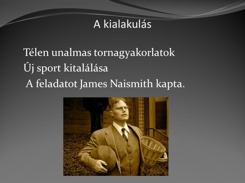 A kialakulás Új sport kitalálása A feladatot James Naismith kapta.