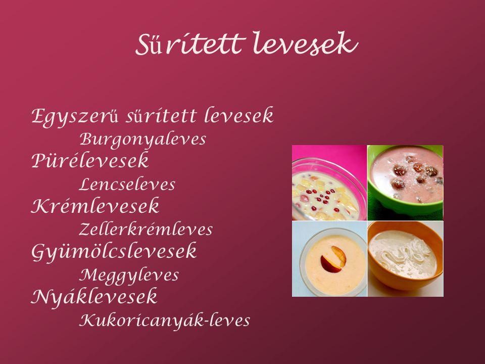 Sűrített levesek Egyszerű sűrített levesek Burgonyaleves Pürélevesek