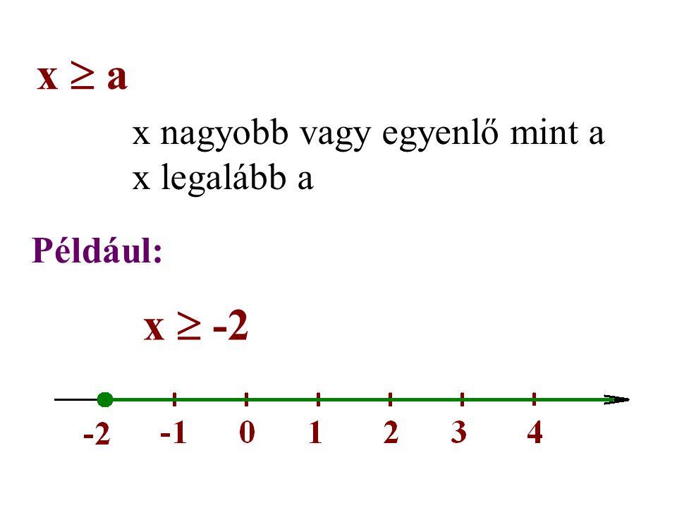 x nagyobb vagy egyenlő mint a x legalább a