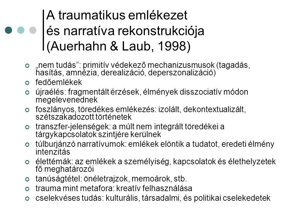 A traumatikus emlékezet és narratíva rekonstrukciója (Auerhahn & Laub, 1998)
