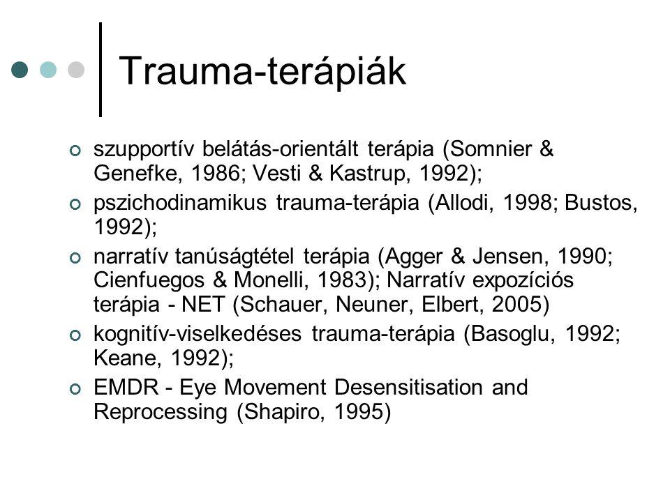 Trauma-terápiák szupportív belátás-orientált terápia (Somnier & Genefke, 1986; Vesti & Kastrup, 1992);