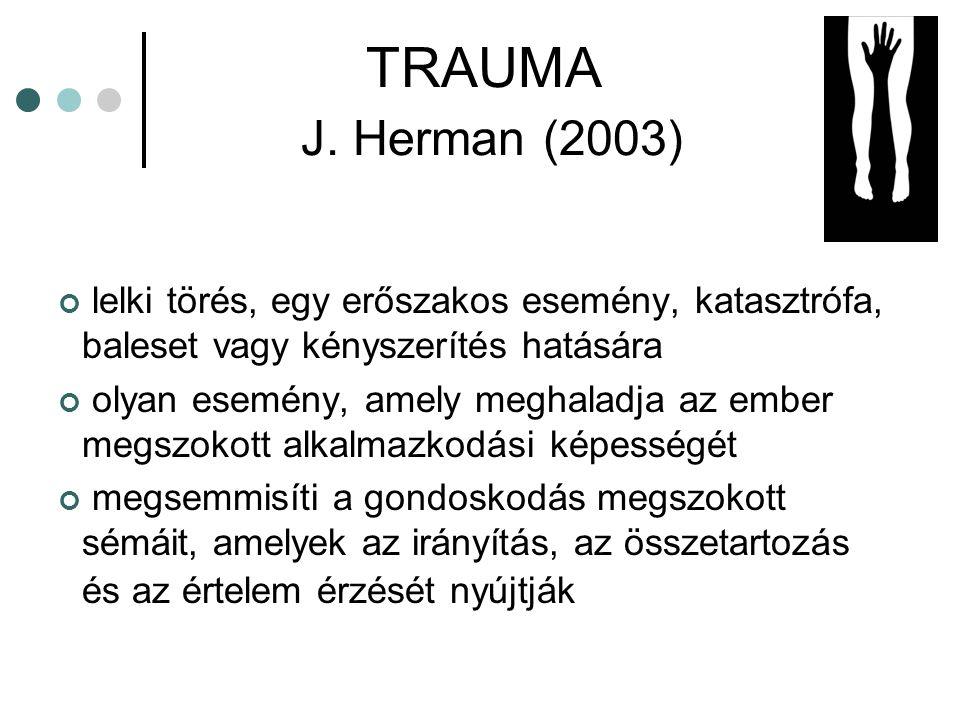 TRAUMA J. Herman (2003) lelki törés, egy erőszakos esemény, katasztrófa, baleset vagy kényszerítés hatására.