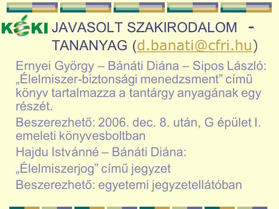 JAVASOLT SZAKIRODALOM - TANANYAG (d.banati@cfri.hu)