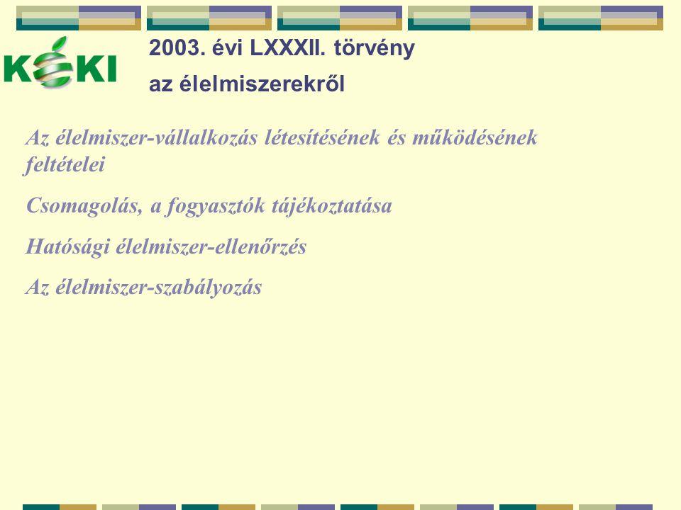 2003. évi LXXXII. törvény az élelmiszerekről