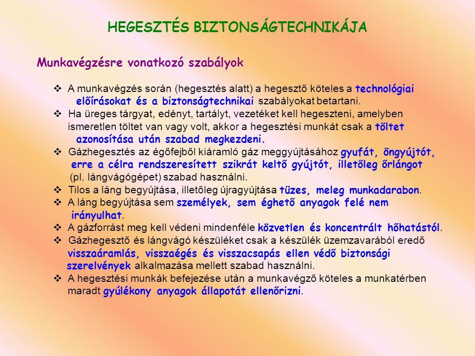HEGESZTÉS BIZTONSÁGTECHNIKÁJA