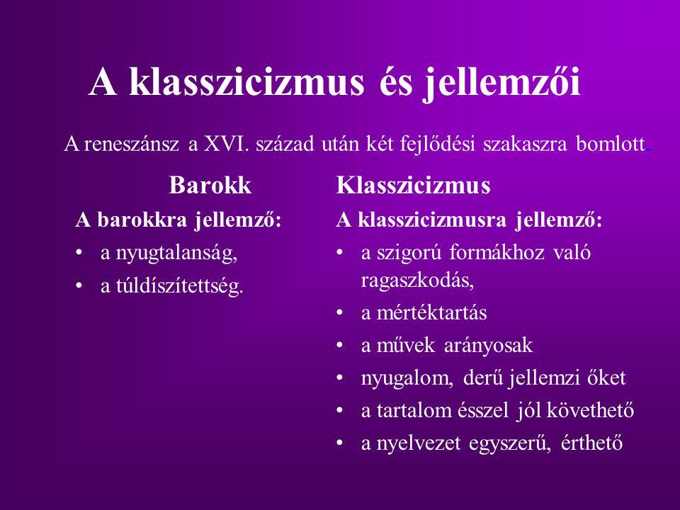 A klasszicizmus és jellemzői
