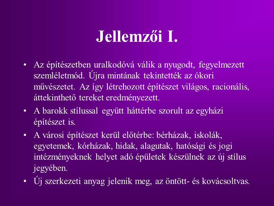 Jellemzői I.