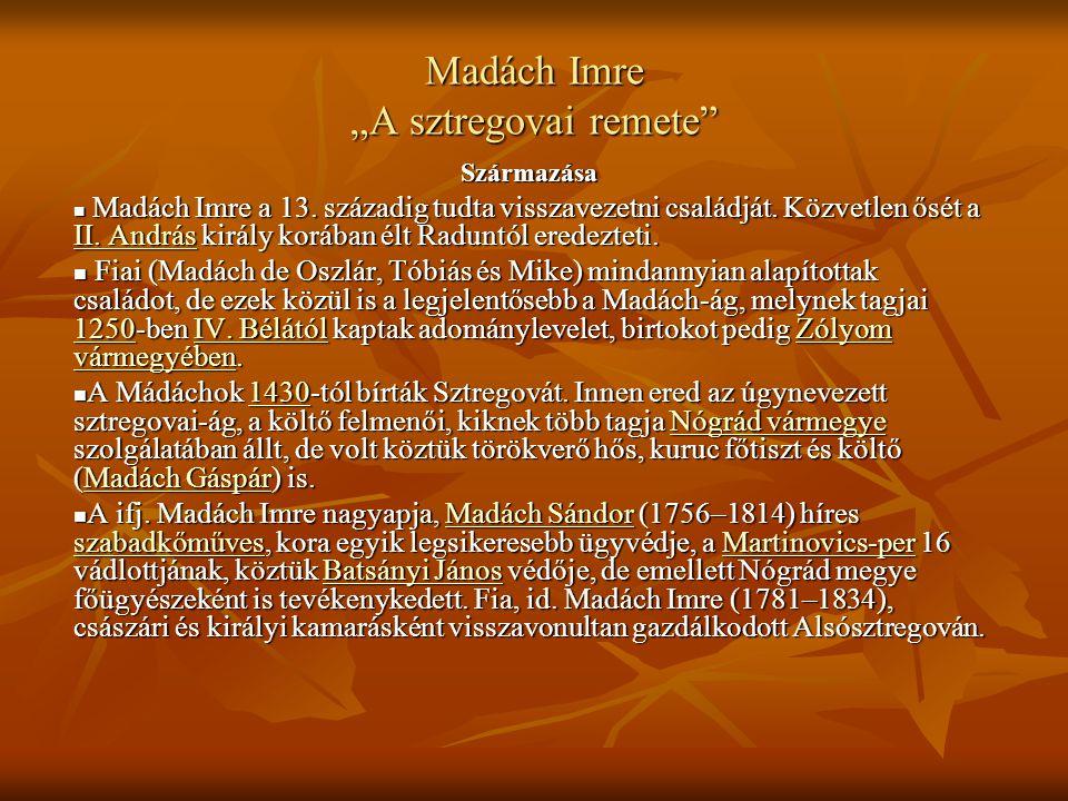 "Madách Imre ""A sztregovai remete"