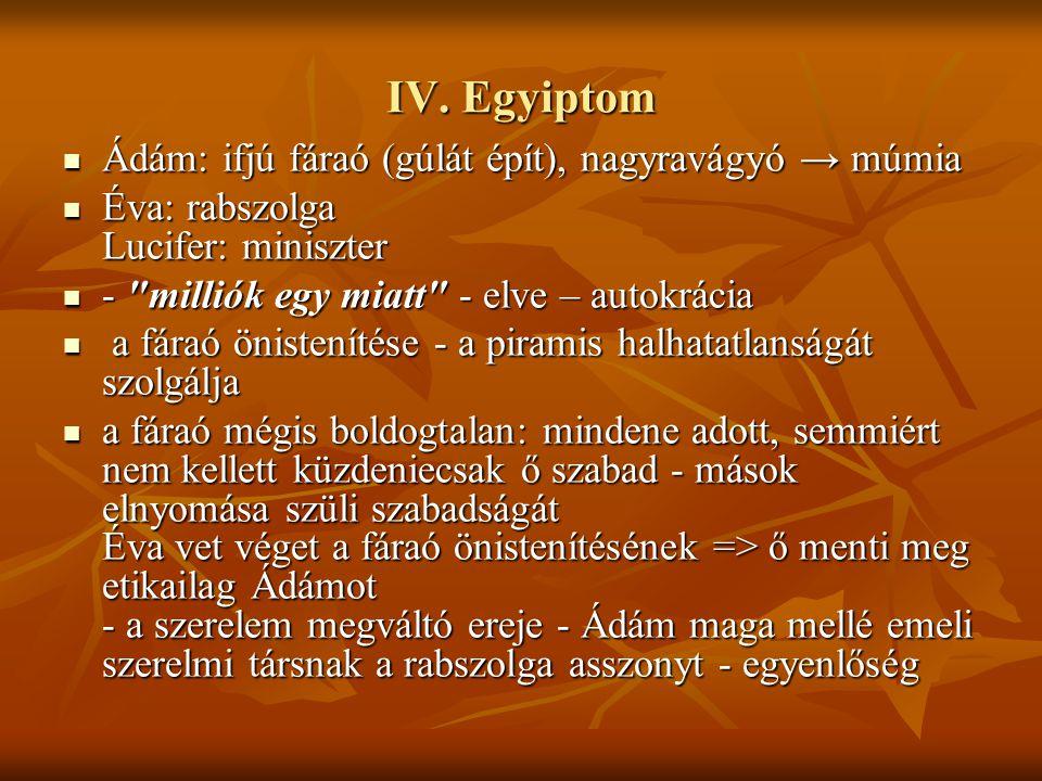 IV. Egyiptom Ádám: ifjú fáraó (gúlát épít), nagyravágyó → múmia