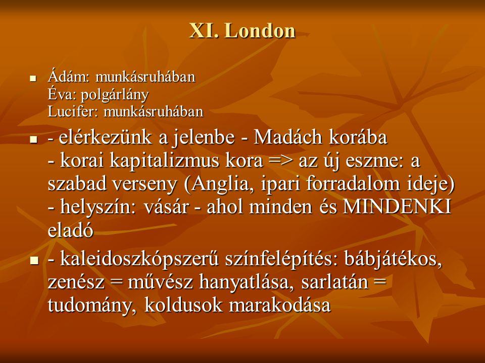 XI. London Ádám: munkásruhában Éva: polgárlány Lucifer: munkásruhában.