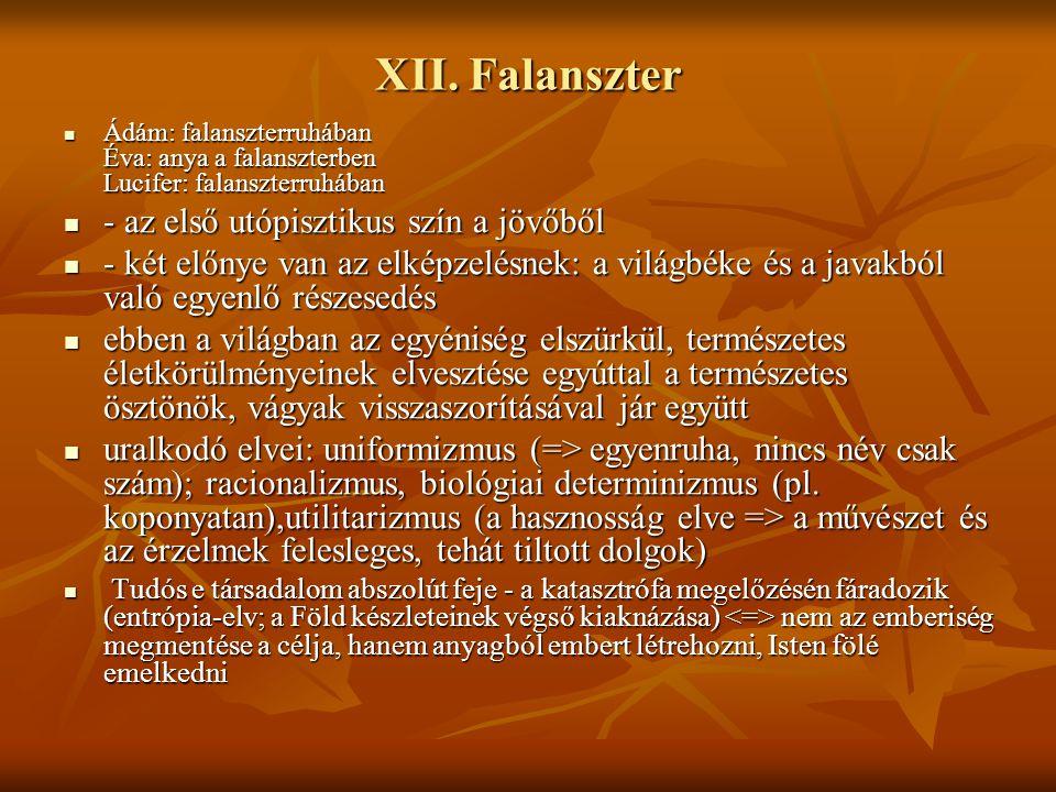 XII. Falanszter - az első utópisztikus szín a jövőből