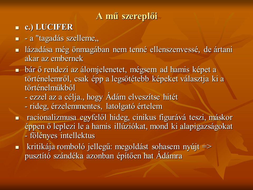 """A mű szereplői c.) LUCIFER - a tagadás szelleme"""""""