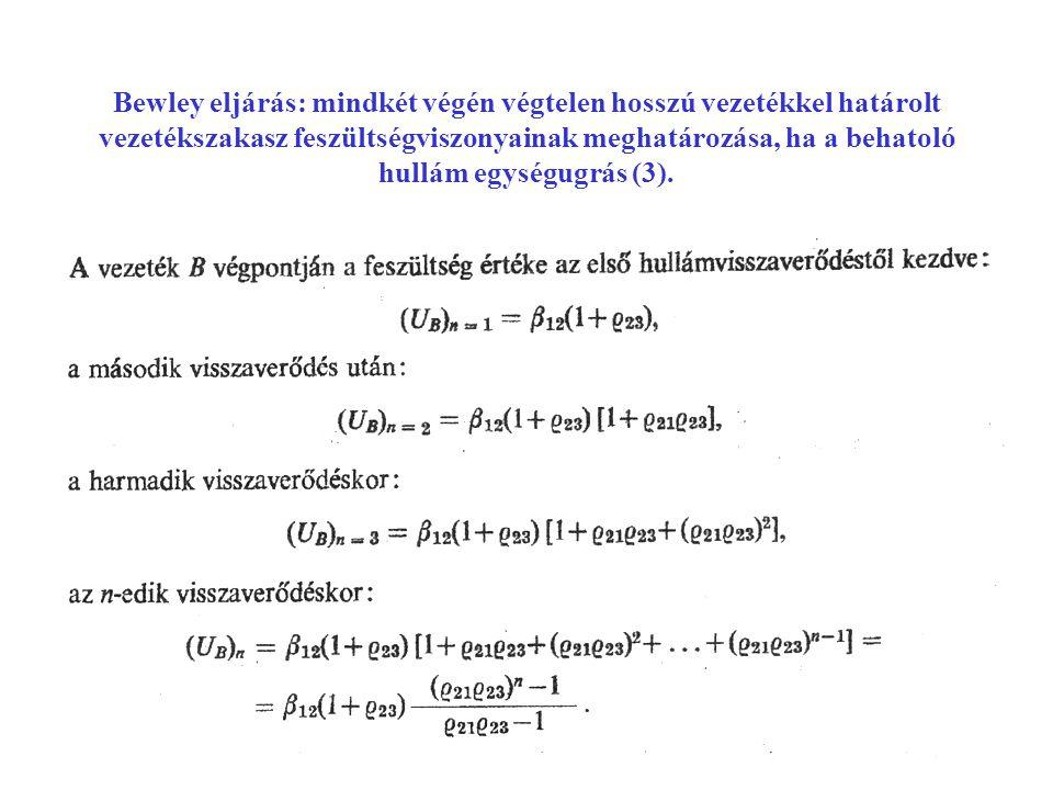 Bewley eljárás: mindkét végén végtelen hosszú vezetékkel határolt vezetékszakasz feszültségviszonyainak meghatározása, ha a behatoló hullám egységugrás (3).