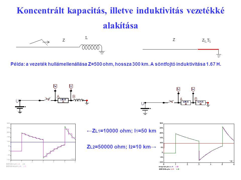Koncentrált kapacitás, illetve induktivitás vezetékké alakítása