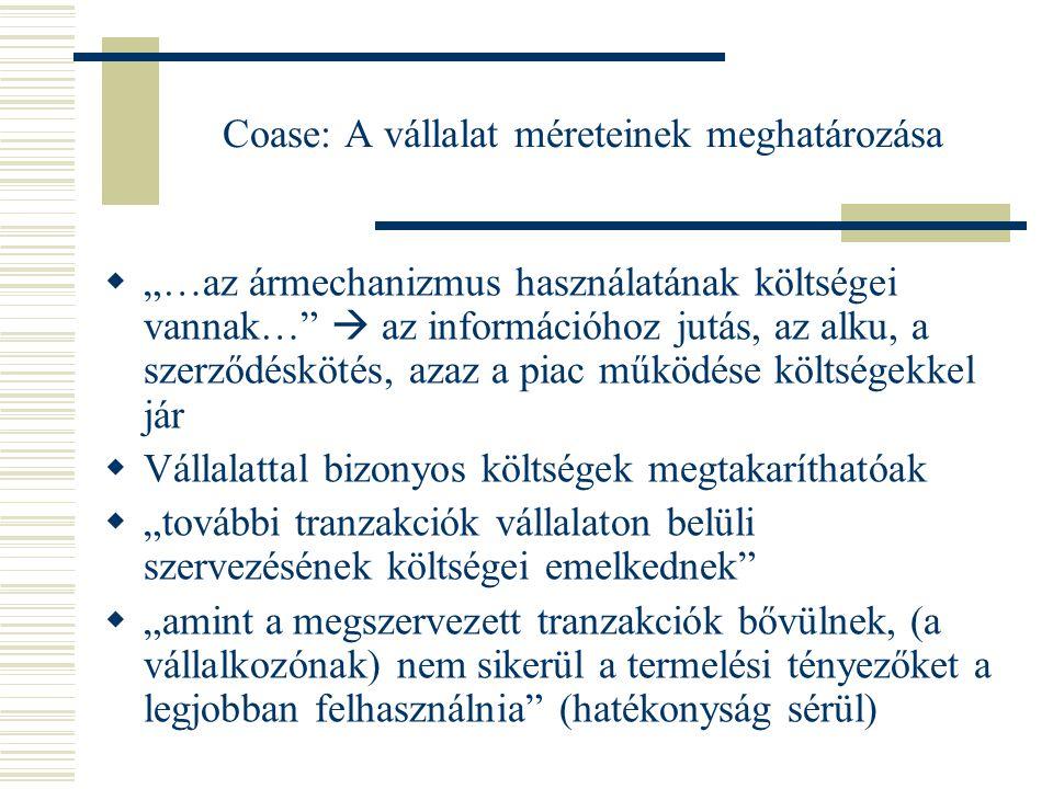 Coase: A vállalat méreteinek meghatározása