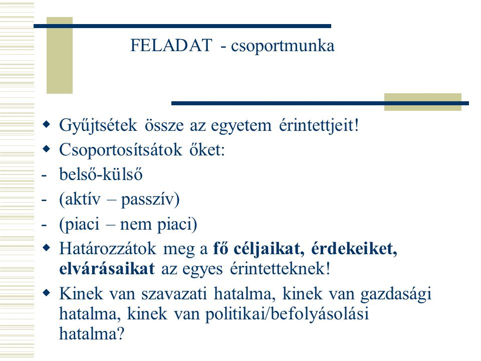 FELADAT - csoportmunka